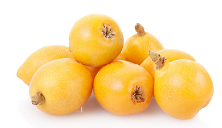 Medlar or loquat isolated on white, clipping path included