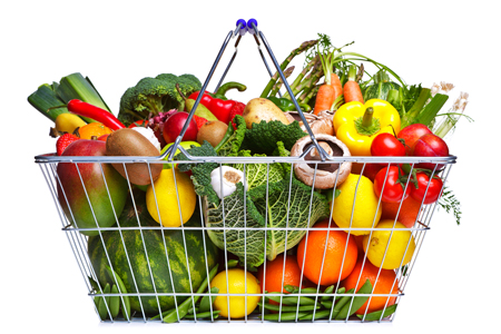 A basket filled with fruits and vegetables
